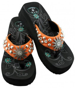 Women's Orange Rhinestone Studded Wedge Flip Flop Sandals