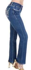 Sexy Couture Women's S546-PB Cross Rhinestone Medium Wash Mid Rise Boot Cut Denim Jeans 3-17