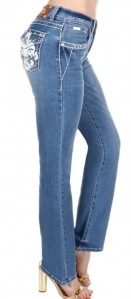 Sexy Couture Women's 547-PB Fleur De Lis Medium Wash Boot Cut Denim Jeans 3-17