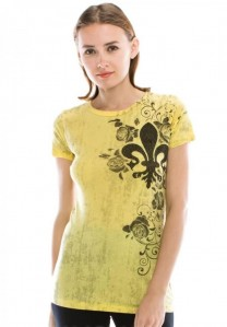 Vocal Women Apparel Yellow Fleur De Lis Top Shirt Print Rhinestone