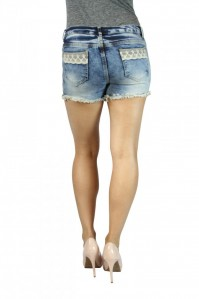 Sexy JZ Butt Shape & Lift Crochet Lace Destroyed Distressed Pocket Cutoff Denim Shorts