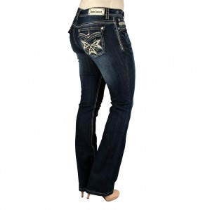 Denim Couture Dark Blue Rhinestone Studded  Boot Cut Jeans