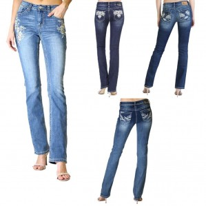 Charme Denim by Grace in L.A-New Rhinestone Embellished Bootcut Stretch Jeans