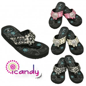 Women's Floral Rhinestone Pendant Studded Wedge Flip Flop Sandal