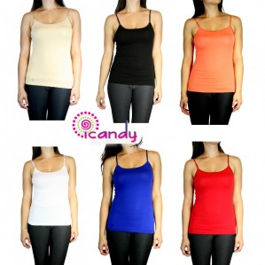 Active Basic Adjustable Spaghetti Strap Stretch Fitted Tank Top- T966