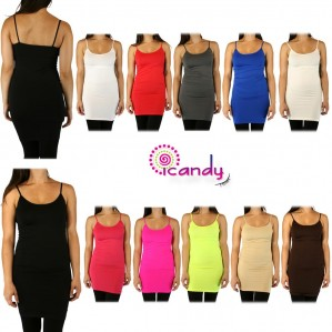 """Women's X-Long 30"""" Cami Spaghetti Strap Seamless Stretch Layering Solid Basic ONE SIZE"""