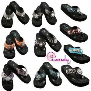 Rhinestone Studded Wedge Flip Flops & Sandals - Hot women's sandals