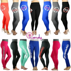 Women's Peace and Love Skinny Stretchy Full Length Lounge Leggings- One Size