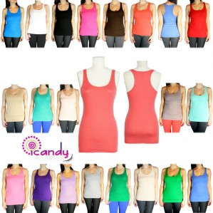 Basic Solid Scoop Neck Racerback Stretch Ribbed Tank Top