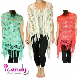 Women's Fringe Knit Crochet Vest Handmade Cover Up- One Size