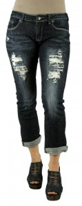 MACHINE JEANS Destroyed Dark Brown and White Stitch Capri