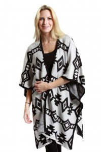 Vocal Women Apparel Black Ivory Cardigan Poncho Style