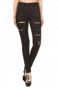 Denim Couture Black Distressed Ripped Light Denim Wash Skinny Jeans- 0-15