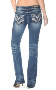 Grace in LA  Brown Stitch Rhinestones Boot Cut Denim Jeans 25-31