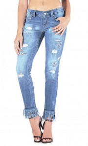 Grace in LA Destructed Patch Fringe Frayed Distressed Denim Crop Jeans 25-31