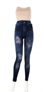 Denim Jean Look Slim Stretchy Distressed Ripped Print Leggings- One Size