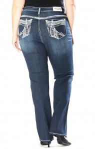 Grace in LA Curvy Plus Size Thick White Stitch Straight Leg Dark Wash Denim Flat Pocket Jeans