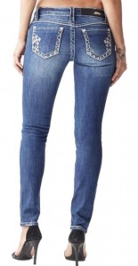 Sexy Couture Women's S004-PS Cross Rhinestone Mid Rise Skinny Medium Wash Denim Jeans 1-17