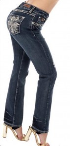 Sexy Couture Women's 446-PB Cross Medium Wash Denim Cross Boot Cut Jeans 3-17