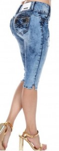 Sexy Couture Women's S462-C Acid Wash Booty Lifting Distressed Ripped Mid Rise Denim Shorts 3-17