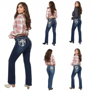 Sexy Couture Women's Rose Cross Rhinestone Medium Dark Wash Mid Rise Boot Cut Denim Jeans 3-17