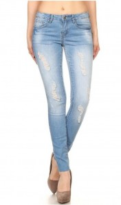 Denim Couture Light Wash 136 Distressed Ripped Light Denim Wash Skinny Jeans- 0-15