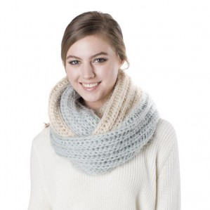 Women's Two Tone Fashion Knit Infinity Winter Warm Scarf