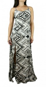 Ark & Co Sexy Racerback Tribal Print Flowy Side Slip Maxi Dress