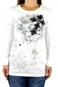 Vocal Women Top Shirt Cross Crystal Rhinestone Graphic White Long Sleeve